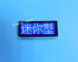 Wholesale Blue LED name badge sign message advertising scrolling display business tag Rechargeable Programmable world language