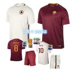 Wholesale Best selling new Rome Jerseys kit socks PJANIC DZEKO TOTTI DE ROSSI home away Associazione Sportiva Roma M SALAH Jersey Whole