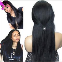 Descuento resistente para el cabello de calor Envío rápido negro natural recto sedoso del frente del cordón sintético resistente para las mujeres negras pelucas sintéticas con el pelo del bebé de calor peluca