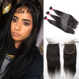 4pcs lot Brazilian Straight Virgin Hair with Closure Natural Human Hair Weaves Indian Straight Bundles with Closure Free Middle 3 Part