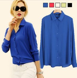 Work Wear 2016 Women Shirt Chiffon Tops Elegant Ladies Formal Office Blouse 5 Colors Blusas Femininas Plus Size XXL