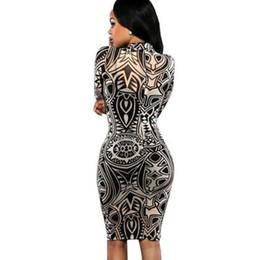 Племенные печатные издания Онлайн-2016 новых женщин плеча татуировки печати с длинным рукавом Bodycon Party Club мини-платье новое хорошее качество Бесплатная доставка