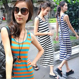 Ladies summer beach dress dresses Tencel striped sundresses for long slim dress in Bohemian dress