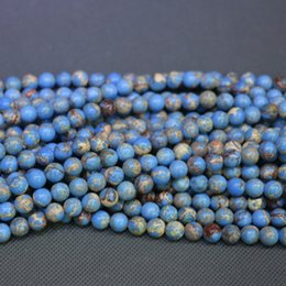 Jasper Natural Blue Stone Beads Gemstone Emperor Imperial Jasper Beads Round Smooth Beaded Wholesale Price Women Necklace Making Jewelry