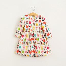 Wholesale Sweet Kids Girls Cartoon Birds Print Dress Long Sleeve Fall Winter Princess Western Party Dress Cute Baby Dress