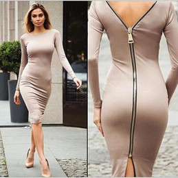 New arrive 2016 Women Zipper Dress Long Sleeve O-neck Dress Sexy Stretch Bodycon Dresses Fashion Sring Autumn Style One Piece Casual Knee-le