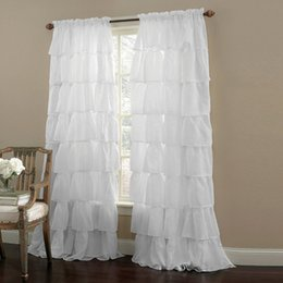 Wholesale Ruffle White Sheer Curtains Rod Pocket Top With Custom Multi Size