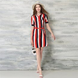 Wholesale Striped Shirt Lady - New Women Shirt Dresses Popular Ladies A-Line Casual Dresses with V-Nick for Autumn Style Hot Sale