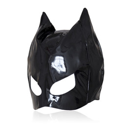 Wholesale Patent Leather Cat Mask Sexy Latex Realistic Head Bondage Hood Adult Sexy Headgear Black PVC Fetish Erotic Toys Sex Toys for Couples