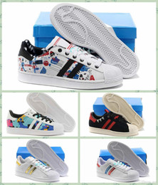 Wholesale 2016 Newest Superstar W Shoes Women And Mens Superstar Metal Graffiti Running Shoes Sneakers Superstars Low Cut Sports Shoes Size