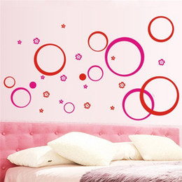 Wholesale Best Promotion DIY Clearance Wall Sticker quot Circles quot Removable Living Room TV Sofa Background DIY Wallpaper Colors