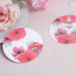 Wholesale 1200pcs bags Eco friendly High Quality Rose Flower Paper Coasters Wedding Bridal Shower Favors Set of