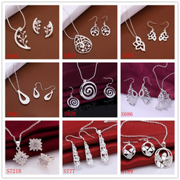 Wholesale High grade women s sterling silver jewelry sets sets a mixed style EMS26 fashion gemstone silver Necklace Earring jewelry set