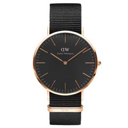 Wholesale Ladies Strapping Men - 2016 New Fashion Black Face Quartz Watches Men Top Luxury Brand Watch Women Dress Watches Men Nylon Strap Casual Watch Ladies Wristwatches