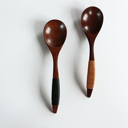 Wholesale Solid Wood Spoons Crank Classic Korea Japanese Style Flatware Nanmu Kinking Yarn Round Mouth Soup Spoons cm MOQ piece