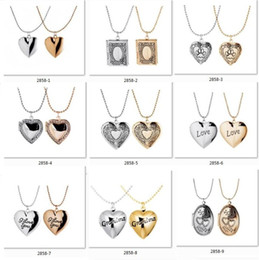 Wholesale Fashion Pendant Necklaces Creative pocket watch box series The magic lines peach heart necklace can be put on Photos