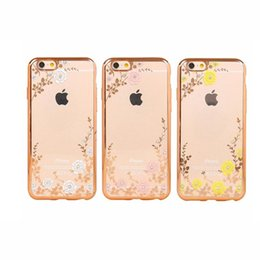 Secret Garden Flowers Rhinestone Phone Cases Rose Gold Plating TPU Back Case Cover For iPhone X 7 6 6S Plus 5 5S SE
