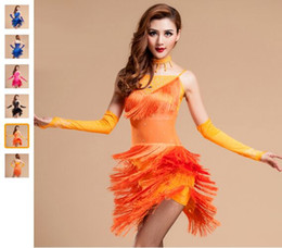 Hot Sale Latin Dance Costume 3piece (Dress+Necklace+Gloves) Regatas Femininas Orange Black Rose Red Fitness Clothes Latin Dance Dress