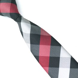 Free Shipping Neck Tie For Adult Striped Plaid Silk Pattern For Party Tie Slim Casual Black Rend White Cross Neckties E-056