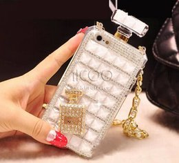 Wholesale Diamond Perfume Bottle iphone case Luxury diamond TPU back cover with Necklace for iphone s plus SE s retail package
