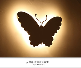 Wholesale Butterfly Wall Lamps W W Aluminum LED wall lighting Warm Light Step Stair Guide Lights AC85v v For Bedroom Bedside Corridor