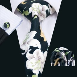 Classic Black White Tie With Cufflinks Hanky New Arrival Men's Silk Priting Tie Stylish Party Wedding Tie N-1279