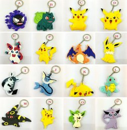 Wholesale Pocket Monster keychain Poke Silicone Pendant Pikachu Poke Ball Keychain Double Sided Design Key Chain Kids Gifts