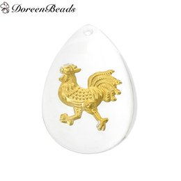 Wholesale Resin Charm Pendants Teardrop White Golden Chinese Zodiac Chicken Pattern cm x mm new jewelry making