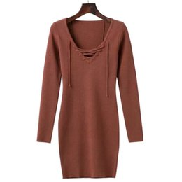 2017 autumn and winter women's wear new v-neck band knit dresses Europe and America