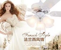 Retro white LED lights chandelier fan Minimalist living room bedroom dining room ceiling chandelier fan lights continental