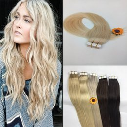 Tape In Human Hair Extensions 100% 8A Brazilian Virgin Hair Seamless Tape In Skin Weft 20pcs 16-20 inch High Quality Free Shipping