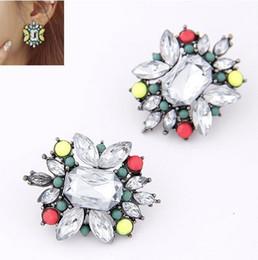 Wholesale&Retail Earring Women's Square Strass Earring Women Elegant Flower Shape Stud Earring 4 Colors