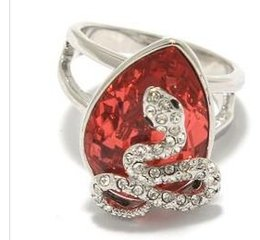 siler snake inlay red diamondl lady's ring size 7 8 (xysppfh)