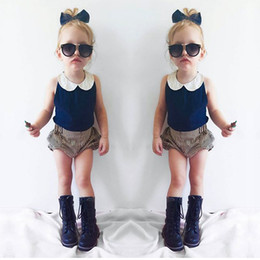 Wholesale INS Summer Children Outfits baby girls lace doll collar navy blue Chiffon vest tops stripe shorts sets kids cotton clothing