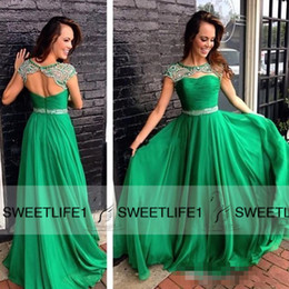 2019 A Line Chiffon Emerald Green Ruffles Evening Dresses Beaded Formal Custom Made Backless High Neck Long Prom Gowns Capped Sleeves