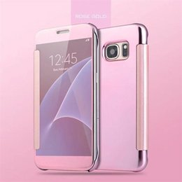 Clear View Smart Cover for Samsung Galaxy Note 5 Mirror Flip Leather Case for Galaxy S6 S7 Edge Plus in Retail Package