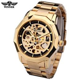 Winner Brand New Fashion Gold Men Watch Stylish Steel Men Male Clock Classic Mechanical Watches for Men Self Wind Wrist Dress Skeleton Watch
