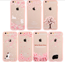 Girl's Case Lovely Pink Sakura Flower Pattern TPU Transparent Mobile Phone Cases Pink Back Cover for Iphone6s 6plus