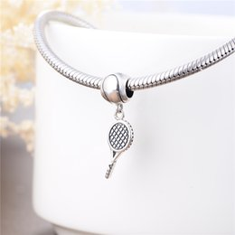 Wholesale Antique Silver Tennis Racket Sports Charms Sterling Silver Best Friends Gifts Bracelets Necklace Pendant DIY Jewelry Beads Hot Sale S027