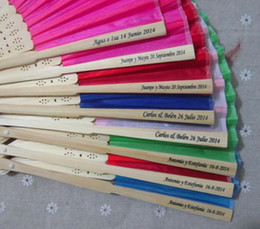 16 colors personalized wedding fans printing text on silk fold hand fans wedding favors and gifts