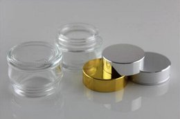 Cream Bottle,10g Refillable Transparent Glass Cosmetic Cream Jar Pot Bottle Container Gold (Silver) Metal Caps