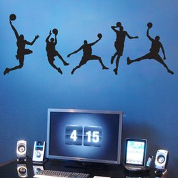 Wholesale Basketball Man Boys Wall Stickers Sports Wallpaper Wall Decals Art Kids Boys Room Home Decorations WS229