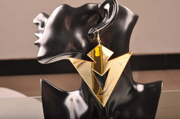 Hip Hop Club Jewelry Accessories Ancient Fashion Geometric Gold Big Acrylic Triangle Earrings For Women Wholesale