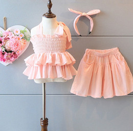 Wholesale 2016 Summer Girls Clothing Sets Adorable Girls Clothes Baby Kids Dandy Suits Girl Falbala Tank Tops Loose Pants Sets Lovely Pink