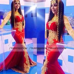 Satin Beaded Applique Lace Mermaid Muslin Arabic Red Cheap Evening Dresses Long 2019 Robe De Soiree Dentelle Long Formal Dress