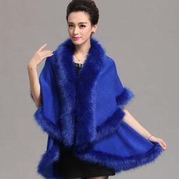 Royal Blue Faux Fur Shrug Cape Stole Wrap Shawl Winter Fall Bridal Prom Evening Pageant Party Elegant Regular Size Women Bolero Fashion