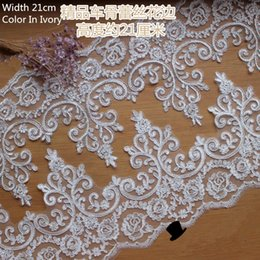 Floral Pattern Embroidery Ivory color Lace Trim for veil wedding dress Sewing work Lace Sold by Yard 20cm Width Dress Accessories
