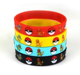 Wholesale 2016 hot Poke Bracelets Pocket Monster Pikachu silicone wristband Soft Silicone Wrist Straps Kids Children Gifts Christmas gift