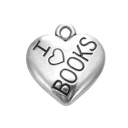 Wholesale My Shape Antique Silver Plated Print Word I Love Books DIY Heart Message Charms For Necklaces Bracelets Pendant