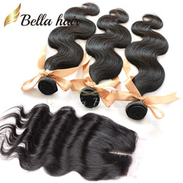 Full Head Weaves Closure Top Closure piece(4x4)Body Wave Hair Extensions Brazilian Hair Weaves With Closure Middle Part Bellahair 8A